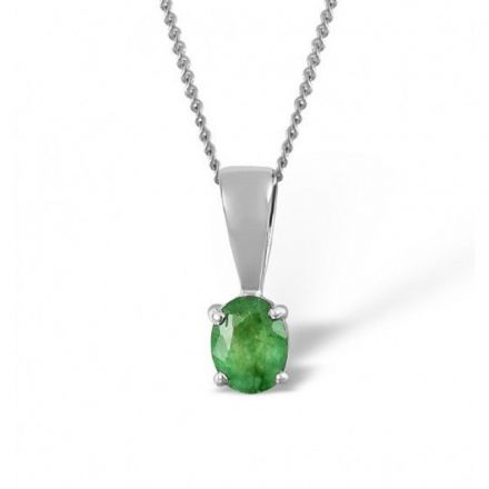 18K White Gold 5mm x 4mm Emerald Pendant, DCP01-EW